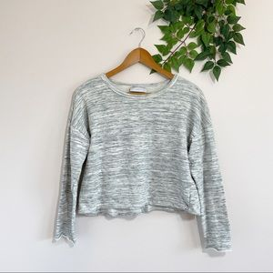 Modern Citizen Gray Cropped Space Dye Sweatshirt M